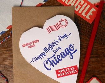 letterpress happy mother's day from Chicago greeting card heart shaped special delivery mom handle with care postal stamps