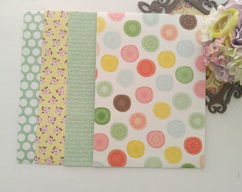"""4 Dear Lizzy Adhesive Fabric Paper Fabric Sticker A4 Size 8.5"""" x 11.5"""""""