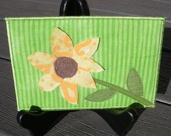 Yellow Sunflower, Fabric Postcard,Handmade Quilted Postcard, Quilted Greeting Card, Postcard Art, Fiber Art, Flower Lover, yellow flower