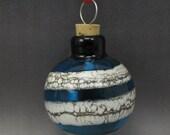 ON SALE Handmade Lampwork Glass Blown Hollow Ornament by Jason Powers SRA (dark aqua 1)
