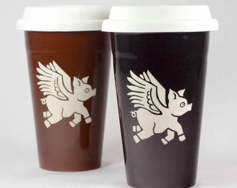 Flying Pig travel mug - insulated lidded coffee cup