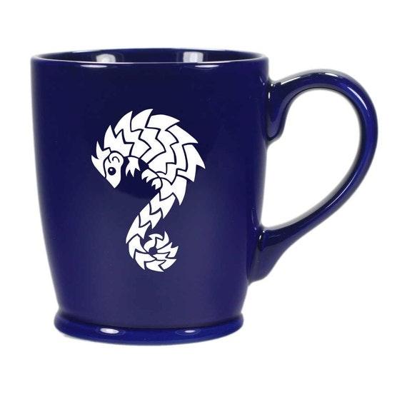 Pangolin Mug Navy Blue ceramic coffee cup by BreadandBadger