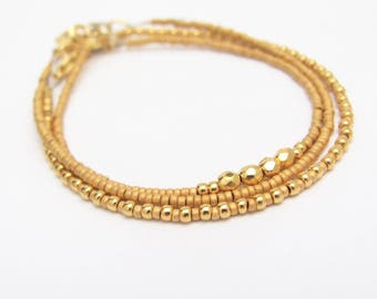 Gold Friendship Bracelet Set, Beaded Bracelet, 24K Gold Plated Bracelet, Friendship Bracelet, Minimal Bracelet, Accent Bracelet, Miss Cece