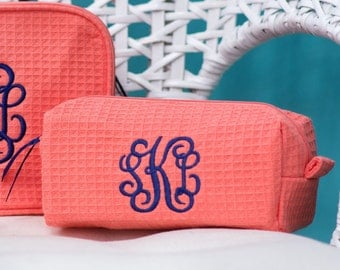Small Size Monogrammed Cosmetic Bag - Personalized makeup bags Purse sized make up case waffle weave cosmetics bags bridesmaids makeup bags