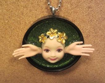 Hawaiian Angel  -  Upcycled Doll Pendant