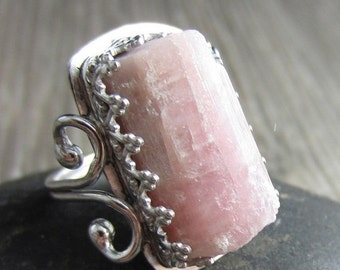 HOLIDAY SALE Au Natural Pink Ring - Sterling Silver and Organic Pink Tourmaline  - Size 5