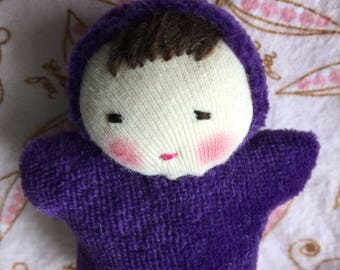 Waldorf dolls, 3 inch pocket doll, small doll,  baby shower gift, Waldorf toy, purple baby