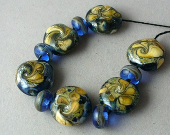 SRA Lampwork Beads Handmade by Catalinaglass Galactic Spiral