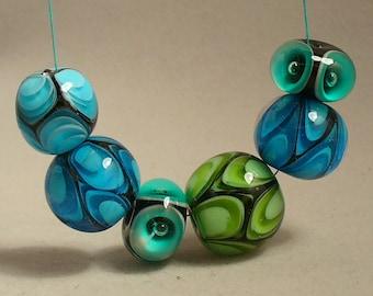 lampwork beads/lampwork/sra lampwork/blue/green/petals/bubbles/aqua/rounds/