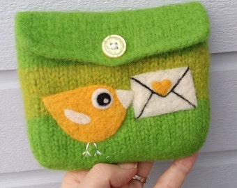 Felted pouch apple olive green wool bag cozy hand knit needle felted yellow birdie love letter
