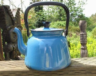 Vintage Bright Blue Enamel Teapot Kettle, Made in Poland