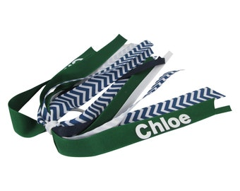 Name Personalized Team Sports Bow - school colors - Forest Green & Navy Chevron -hair bow girls, ponytail streamer cheer bow