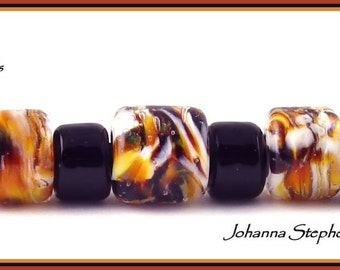 BIG HOLE Tiger Lampwork Bead Set SRA