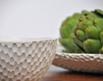 SALE Coneflower Bowl - Carved Porcelain Serving Bowl White Ceramic Bowl