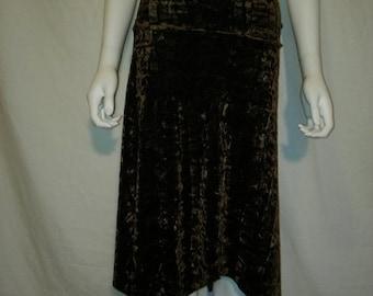 35% off SALE 90s Crushed Velvet Brown Skirt