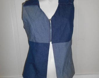 90s jean zip vest top shirt, blue patch top shirt