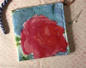 Rose Needlebook Watercolor Floral Fabric Pin Keep