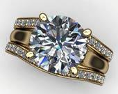 katya ring - 2.2 carat round diamond cut NEO moissanite and diamond wedding set