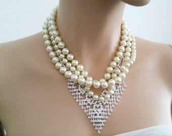 Vintage Style Wedding Jewelry, Statement Wedding Necklace, Pearl Rhinestone Art Deco Necklace, Bridal Necklace Wedding Bib Necklace, GATSBY
