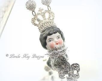 The Queen Fleur De Lis  Necklace Wearable Art Doll Pendant OOAK Statement Necklace Assemblage Necklace Lorelie Kay Original