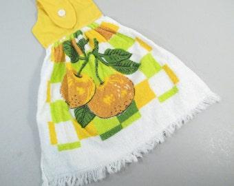 Vintage kitchen towel, hand towel, yellow cherries, button top, yellow kitchen decor, fruit towel