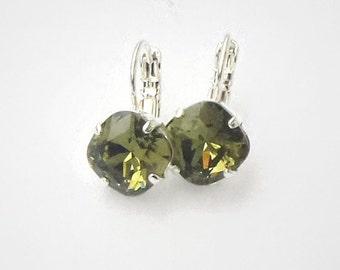 Swarovski crystal 10mm square mini  fancy stone golf earrings,chaki ,bright silver plated setting,delicate easyto wear earrings