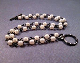 Pearl Bracelet, White Glass Pearl Double Strand Bracelet, Gunmetal Silver Beaded Bracelet, FREE Shipping U.S.