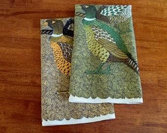 Pair of Vintage Linen Tea Towels - Pheasants - Designer Lois Long