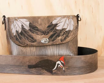 Brown Leather Crossbody Bag - Carved Feathers and Woodgrain in the Emily Pattern with Guitar Strap Purse Strap - Shoulder Bag