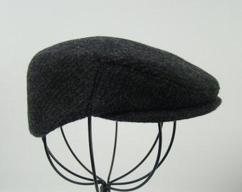 Baby Boy's Charcoal Wool Flat Jeff Cap, Ivy , Children's Driving Cap Custom Handmade Infant Grey Golf Hat