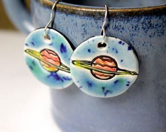 Saturn or Ringed Planet Earrings in Blue