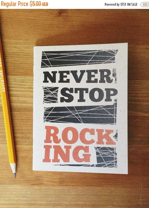 BONUS SALE Never Stop Rocking Recycled Pocket Notebook, 60 pages. Great gift idea, graduation gifts, fathers day, manly gift idea, gifts for