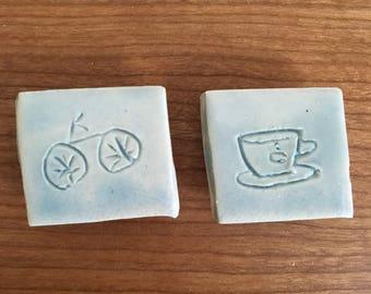 Little Magnets | Ceramic Magnets | Blue Magnets | Cute Magnets | Fridge Magnets | Refrigerator Magnet | Kitchen Magnet | Pottery Magnet