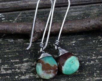 Chrysoprase sterling silver dangle earrings