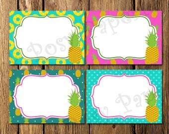 Printable Pineapple Bridal Shower Food Labels - Instant Download