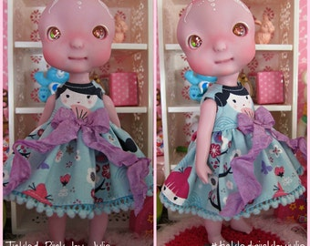 Cerise Tiny BJD Kokeshi Babydoll Dress by Tickled Pink by Julie