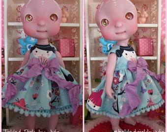 Cerise Tiny BJD Kokeshi Babydoll Dress by Tickled Pink by Julie