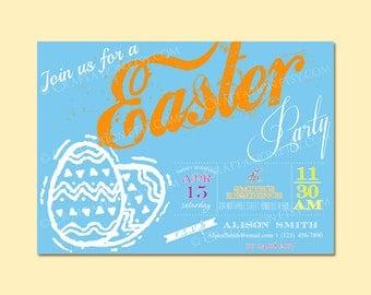 Custom Modern Retro EASTER Party Invitation Invite Digital Design - Old Fashioned/Dots/Lines - Eggs / Rabbit - Printable Template