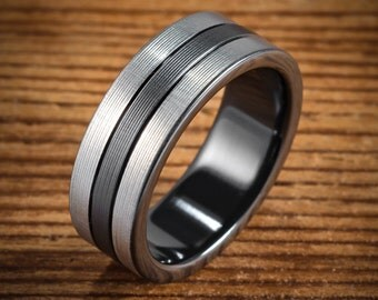 Men's Wedding Band Comfort Fit Interior Black Zirconium Bi-Color 3 Segment Ring