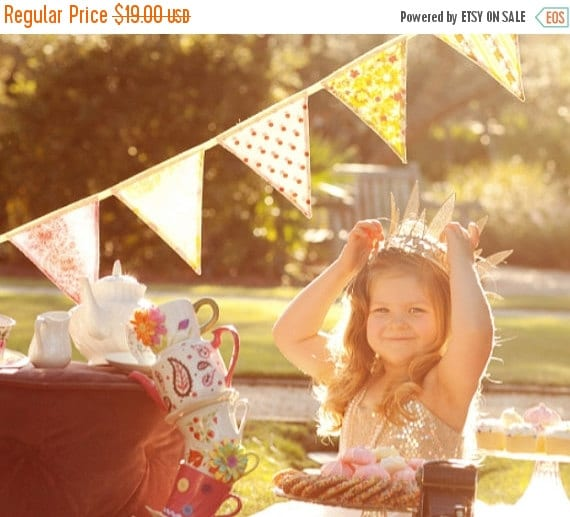 Entire Shop On SALE Bunting Banner for Girls, Fabric Flags, Designer's Choice,  5 Lg. Flags. Birthday, Photo Prop, Wedding Decor. Floral Sha