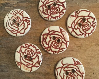 FREE SHIPPING Set of 6 Handmade Ceramic Buttons - Roses