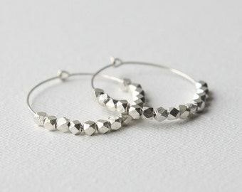 Sterling Silver Hoop Earrings, Faceted Nugget Earrings, Small Silver Hoops, Round Sterling Earrings, Gift for Women, Jewellery Gift