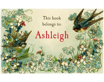 Bluebird Garden Bookplates - Personalized Book Labels - Gorgeous Gift - Nature, Bird Lover, Ex Libris