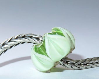 Luccicare Lampwork Bead - Spring Lotus -  Lined with Sterling Silver