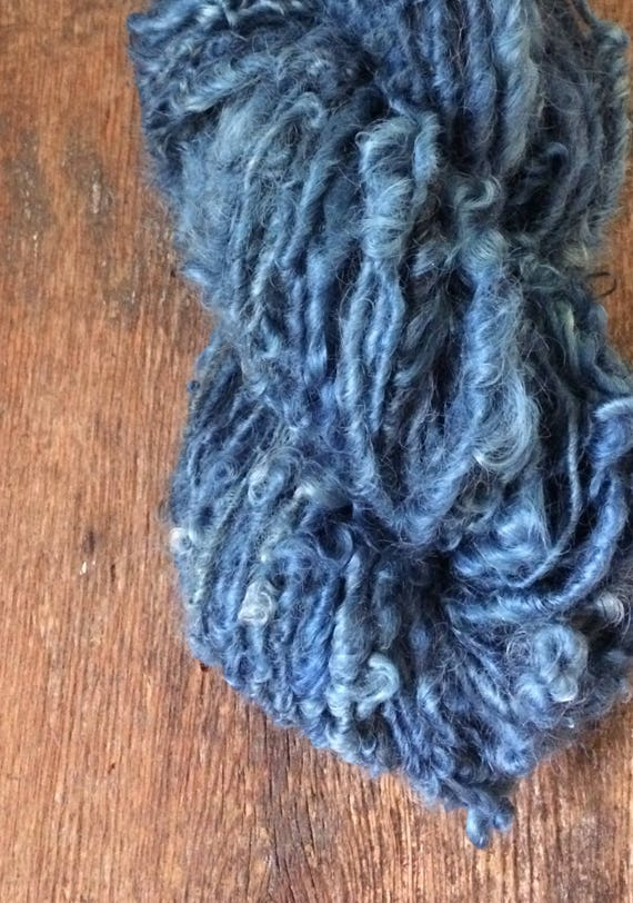 Indigo curls, naturally dyed handspun yarn, 74 yards, blue  lockspun art yarn, chunky rustic yarn, curly art yarn, plant dyed yarn