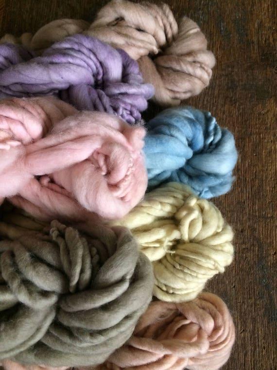 Pastel rainbow yarn, super soft wool yarn, merino handspun, naturally dyed yarn yet, 134 yards, hand dyed luxury yarn, multi skein set