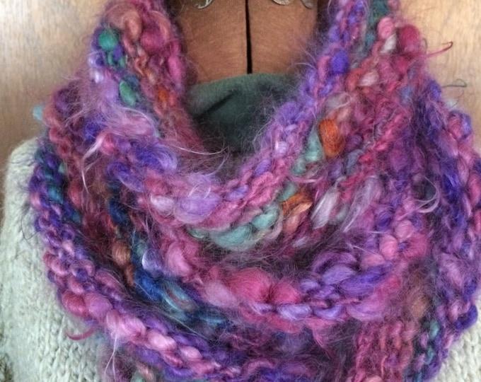 Handspun handknit 100% mohair cowl, soft and warm, super fuzzy