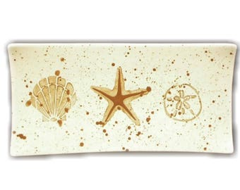 Platter. Scallop Shell. Starfish. Sand Dollar. Narrow Platter. Sea Star. Handmade by Sara Hunter Designs.c