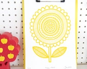 New YELLOW Scandi Happy Flower screen print  by Jane Foster  - hand printed signed LIMITED EDITION