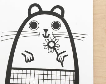 New Guinea Pig Screen Print by Jane Foster  - hand printed signed